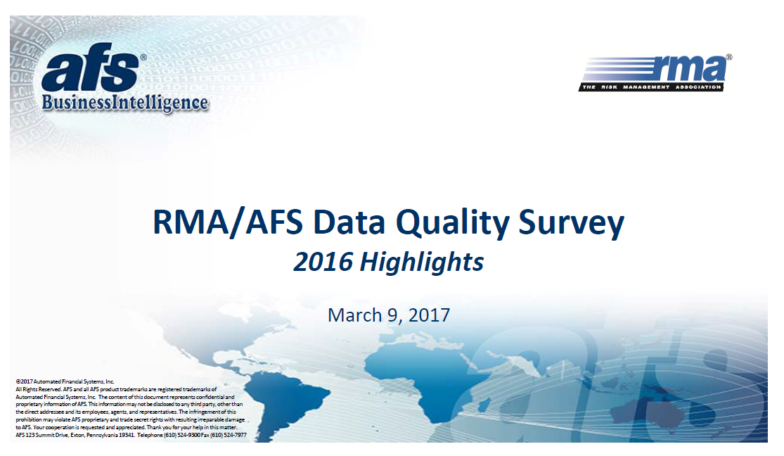 RMA/AFS Data Quality Survey 2016 Highlights